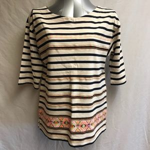 J. Crew Boatneck Striped Emroidered Shirt   -SizeM